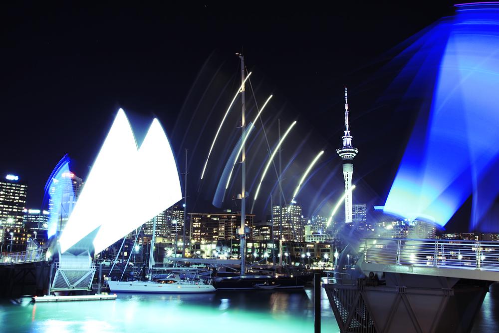 Auckland Skyline behind opening bridge