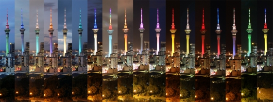 18 colours of the Auckland Sky Tower
