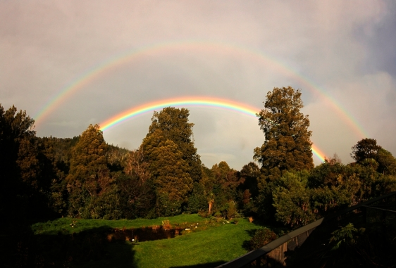 Double rainbow over Mt Bruce Nature Reserve New Zealand