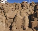 Xmas-themes sand sculptures in Las Palmas, Gran Canaria.
