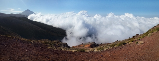 Still above the clouds. This time in Teide National Park with a fabulous view towards Spain's highest mountain in Tenerife.