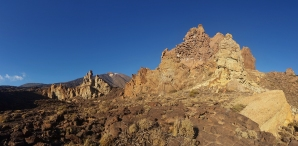 Panorama of the Roques de Garcia walk in Teide National Park, Tenerife.